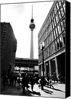 Black And White Pyrography Canvas Prints - Berlin street photography Canvas Print by Falko Follert