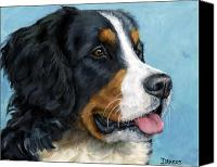Alpine Canvas Prints - Bernese Mountain Dog on Blue Canvas Print by Dottie Dracos