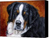 Dogs Canvas Prints - Bernese mountain dog on rust Canvas Print by Dottie Dracos