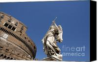 Works Canvas Prints - Bernini Statue on the Ponte Sant Angelo Canvas Print by Bernard Jaubert
