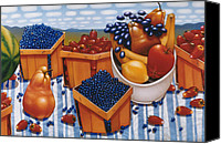 Bananas Canvas Prints - BERRIES AND FRUIT 1997  Skewed perspective series 1991 - 2000 Canvas Print by Larry Preston