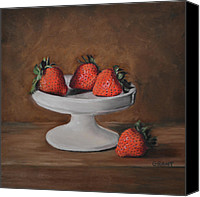 Cake-stand Canvas Prints - Berries Canvas Print by Joanne Grant
