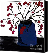 Red Berries Canvas Prints - Berry Twigs in a Vase Canvas Print by Marsha Heiken