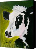 Farm Tapestries Textiles Canvas Prints - Bessy the Cow Canvas Print by Leo Gordon