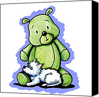 Teddybear Canvas Prints - Best Buddies Come In All Sizes Canvas Print by Kim Niles