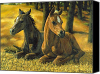 Foal Painting Canvas Prints - Best Friends Canvas Print by Crista Forest