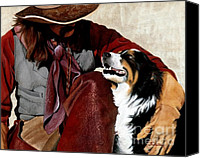 Cowboy Mixed Media Canvas Prints - Best Friends Canvas Print by JK Dooley