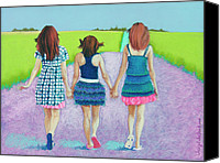 Girls Pastels Canvas Prints - Best Friends Canvas Print by Tracy L Teeter