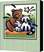 Raccoon Digital Art Canvas Prints - Best of  Friends Canvas Print by Renee Womack