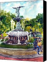 Bethesda Fountain Canvas Prints - Bethesda Fountain at Central Park Canvas Print by Chris Coyne