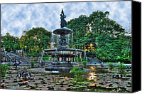 Bethesda Fountain Canvas Prints - Bethesda Fountain at Central Park Canvas Print by Randy Aveille