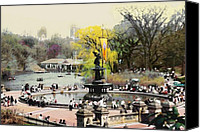 Park Digital Art Canvas Prints - Bethesda Fountain Central Park NYC Canvas Print by Linda  Parker