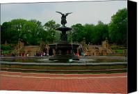 Bethesda Fountain Canvas Prints - Bethesda Fountain in Central Park Canvas Print by Christopher Kirby