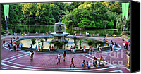 Bethesda Fountain Canvas Prints - Bethesda Fountain overlooking Central Park Pond Canvas Print by Paul Ward
