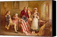 Independence Day Painting Canvas Prints - Betsy Ross 1777 Canvas Print by Jean Leon Gerome Ferris