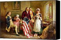 Father Painting Canvas Prints - Betsy Ross and General George Washington Canvas Print by War Is Hell Store