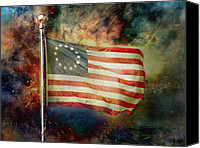 Flag Pole Canvas Prints - Betsy Ross Flag Canvas Print by Steven  Michael