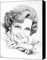 Faces Drawings Canvas Prints - Betty White Canvas Print by Murphy Elliott