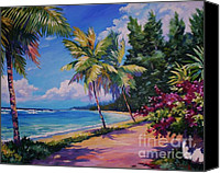 Cuba Painting Canvas Prints - Between the Palms 20x16 Canvas Print by John Clark