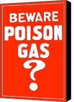 Vintage Canvas Prints - Beware Poison Gas Canvas Print by War Is Hell Store