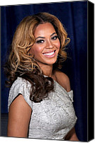 Wavy Hair Canvas Prints - Beyonce Knowles At A Public Appearance Canvas Print by Everett