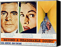 1950s Poster Art Canvas Prints - Beyond A Reasonable Doubt, Dana Canvas Print by Everett