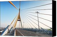 Riverside Canvas Prints - Bhumipol bridge Canvas Print by Atiketta Sangasaeng