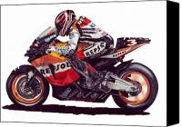 Motogp Canvas Prints - Biaggi Canvas Print by Kristen Wesch