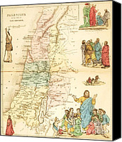 Jesus Drawings Canvas Prints - Biblical Map Palestine Canvas Print by Pg Reproductions