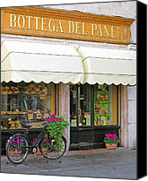 Italian Bakery Canvas Prints - Bicycle and Bakery in Bassano Italy Canvas Print by Greg Matchick