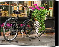 Italian Bakery Canvas Prints - Bicycle and Bakery Shop in Bassano Italy Canvas Print by Greg Matchick