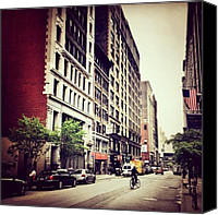 Nyc Canvas Prints - Bicycle and Buildings in New York City Canvas Print by Vivienne Gucwa