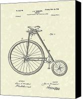 Antique Drawings Canvas Prints - Bicycle Anderson 1899 Patent Art Canvas Print by Prior Art Design