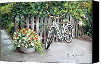Melinda Saminski Canvas Prints - Bicycle on fence Canvas Print by Melinda Saminski