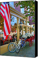 Shopping Canvas Prints - Bicycles and Storefront Canvas Print by Steven Ainsworth