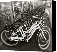 Pedals Canvas Prints - Bicycles in Belmont Shore Canvas Print by Gwyn Newcombe