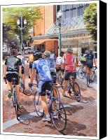 Pioneer Square Canvas Prints - Bicycles on Broadway Canvas Print by Mike Hill