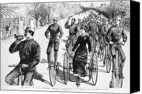 High Wheel Canvas Prints - Bicyclist Meeting, 1884 Canvas Print by Granger