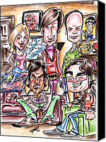 Caricature Mixed Media Canvas Prints - Big Bang Theory Canvas Print by Big Mike Roate