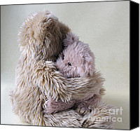 Consoling Canvas Prints - Big Bear Holds LIttle Bear Canvas Print by Ruby Hummersmith