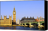 United Kingdom Canvas Prints - Big Ben and Westminster bridge Canvas Print by Elena Elisseeva