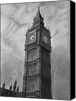 London Drawings Canvas Prints - Big Ben London Canvas Print by David Rives