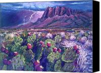 Big Bend Pastels Canvas Prints - Big Bend Lightning Strike Canvas Print by Barbara Richert