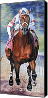 Preakness Canvas Prints - Big Brown Charging Down the Stretch Canvas Print by Thomas Allen Pauly