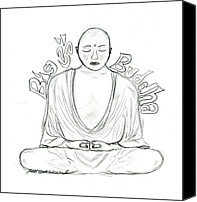 Buddhist Drawings Canvas Prints - Big Buddha Canvas Print by Tessa Hunt-Woodland