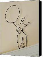 Kinetic Sculpture Sculpture Canvas Prints - Big Circus Lady Holds a Ball Canvas Print by Tommy  Urbans