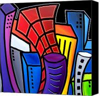 Picasso Painting Canvas Prints - Big City Nights Canvas Print by Tom Fedro - Fidostudio