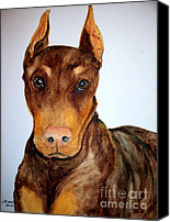 Cannine Canvas Prints - Big Doberman Canvas Print by Carol Grimes