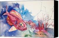 Squirrel Painting Canvas Prints - Big Eye Squirrelfish Canvas Print by Tanya L Haynes - Printscapes