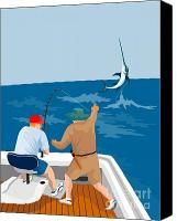 Fish Jumping Canvas Prints - Big Game Fishing Blue Marlin Canvas Print by Aloysius Patrimonio